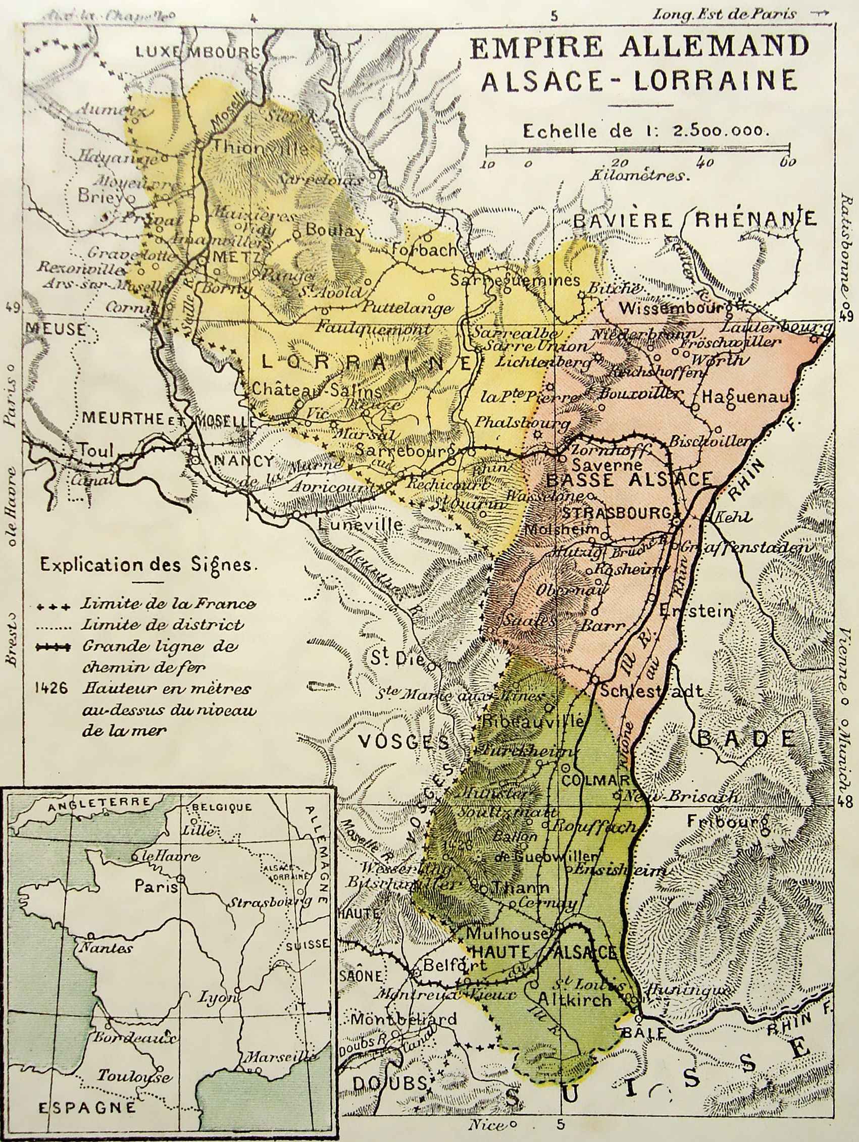 Map In French Of The Imperial Territory Of Alsace Lorraine Part