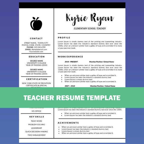 Teacher Resume Template Word Cover Letter Template Teaching Resume Educator Resume Education Re Teacher Resume Template Teaching Resume Good Resume Examples