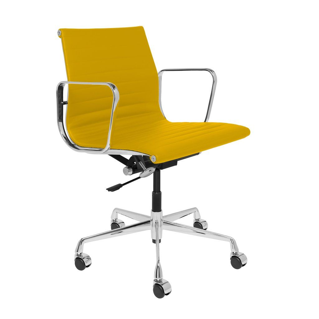 Soho Premier Ribbed Management Chair Yellow Italian Leather