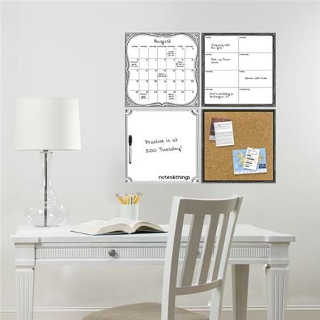 This chic organization set includes a dry-erase monthly calendar, weekly planner, message board and cork board to help keep your busy schedule on track! #organization #wallpops #springcleaning