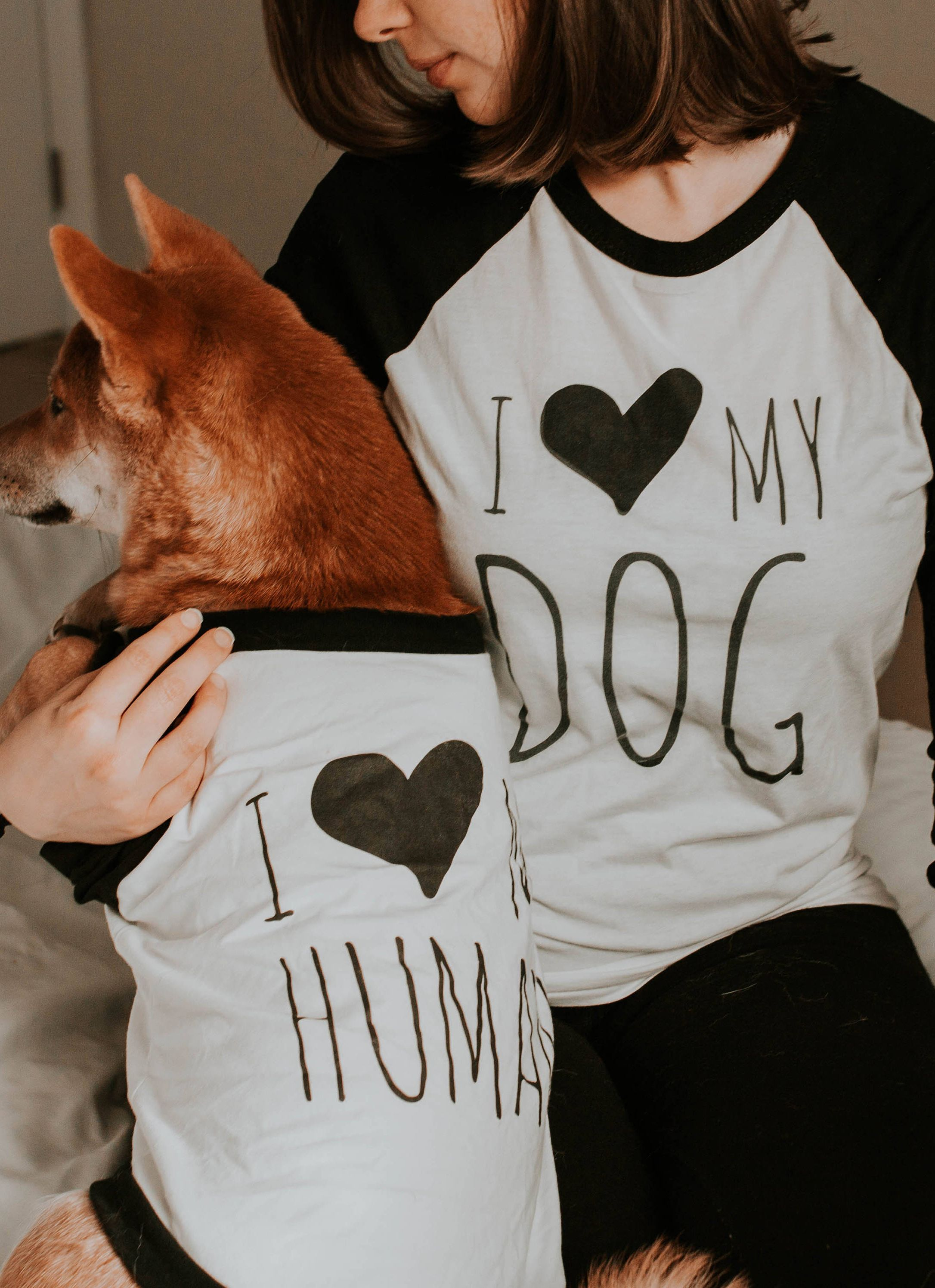 74197826577f I Love My Dog I Love My Human T-Shirt Set for Dog & Human | Unisex or Women's  Graphic Baseball Raglan Tee Shirt Set | Love My Dog Shirt Set