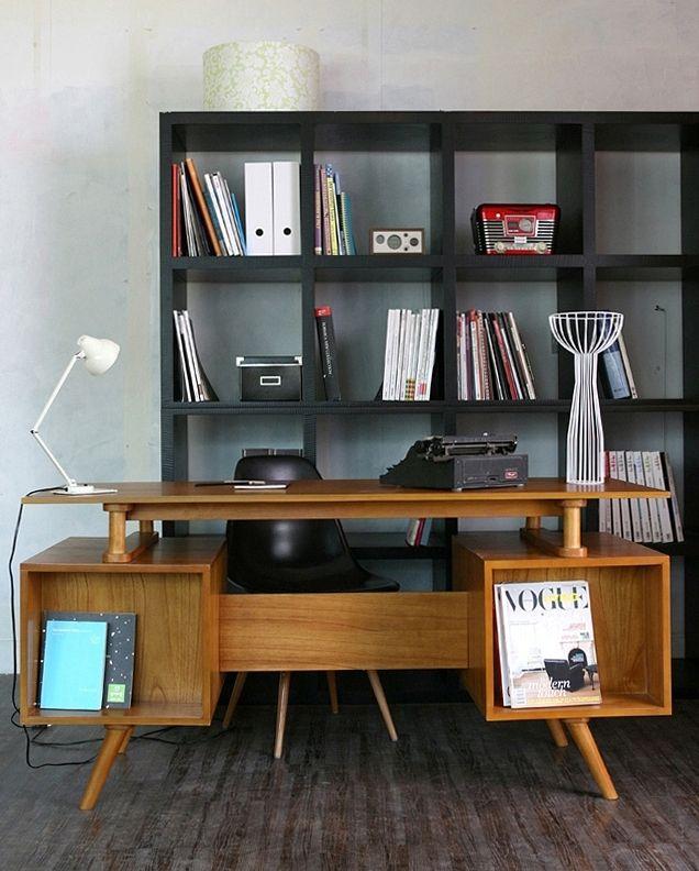 Retro Desk Table With Front Book Storage Retro Desk Home Decor Desk