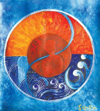 """Saatchi Art Artist sabira manek; Painting, """"leo-aquarius"""" #art"""