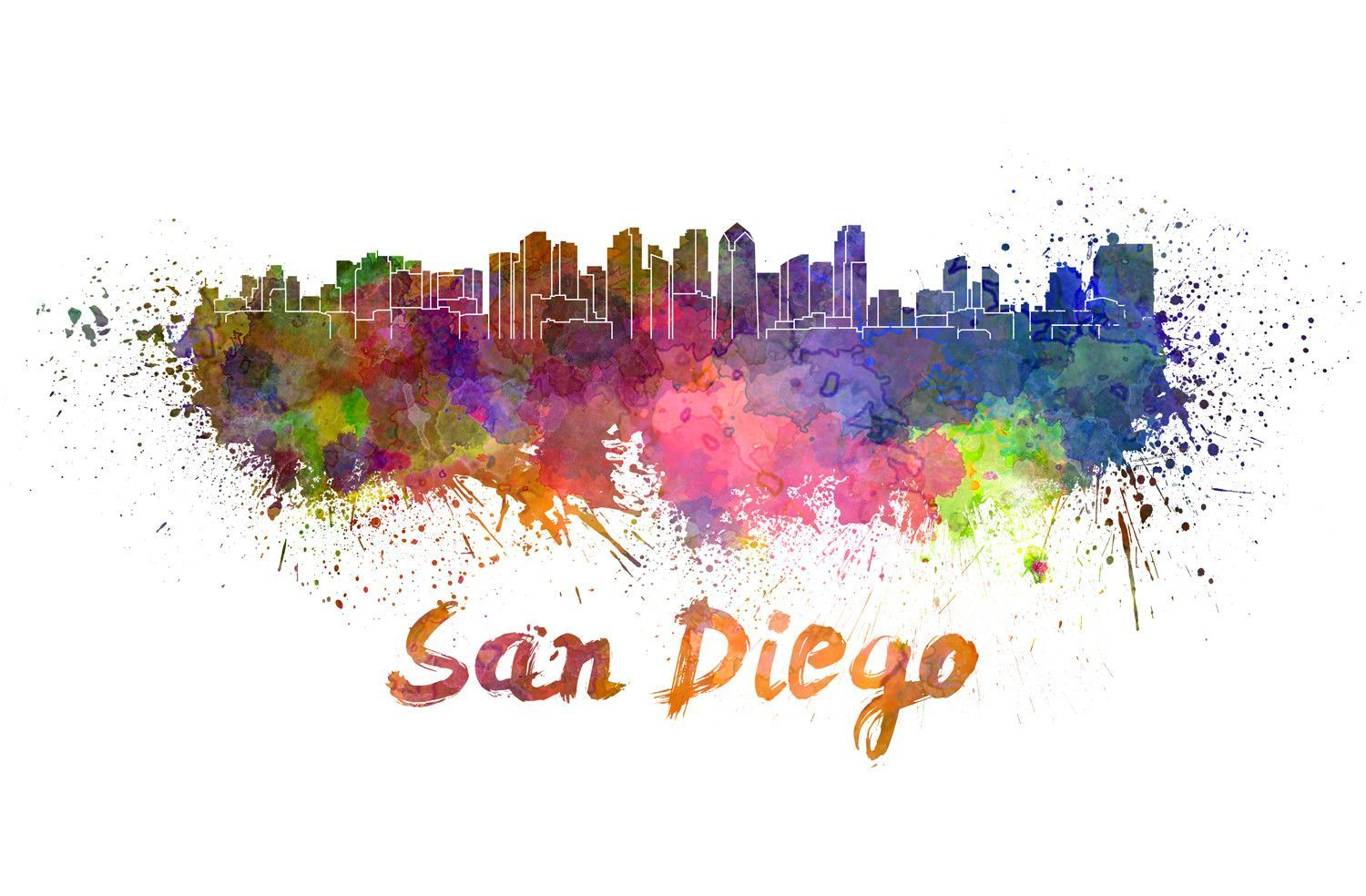 San Diego Splatter Skyline Graphic Art Art Watercolor Splatter
