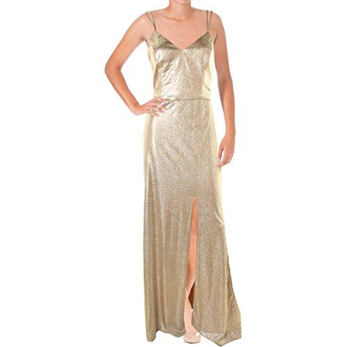 ABS Collection Womens Metallic Prom Evening Dress Gold 6