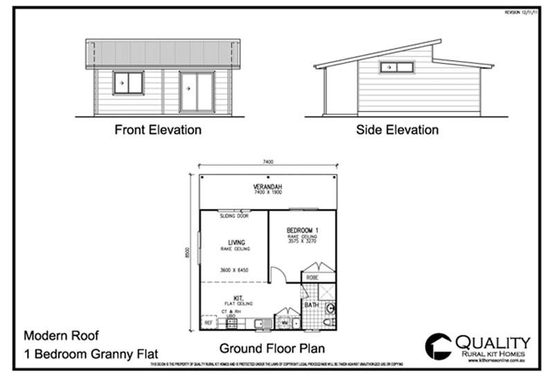 Meadow Lea 1 Bedroom Granny Flat Kit Home | Kit Homes Online 1 Bedroom  House Designs