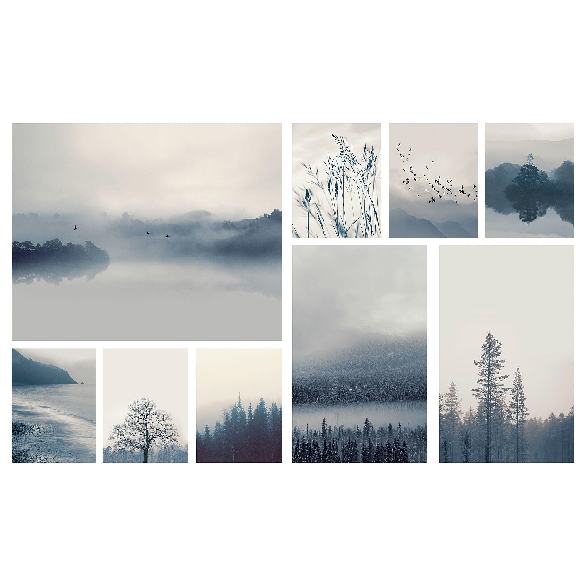 Cavalletti Per Quadri Ikea ikea gronby blue landscape picture, set of 9   wall collage
