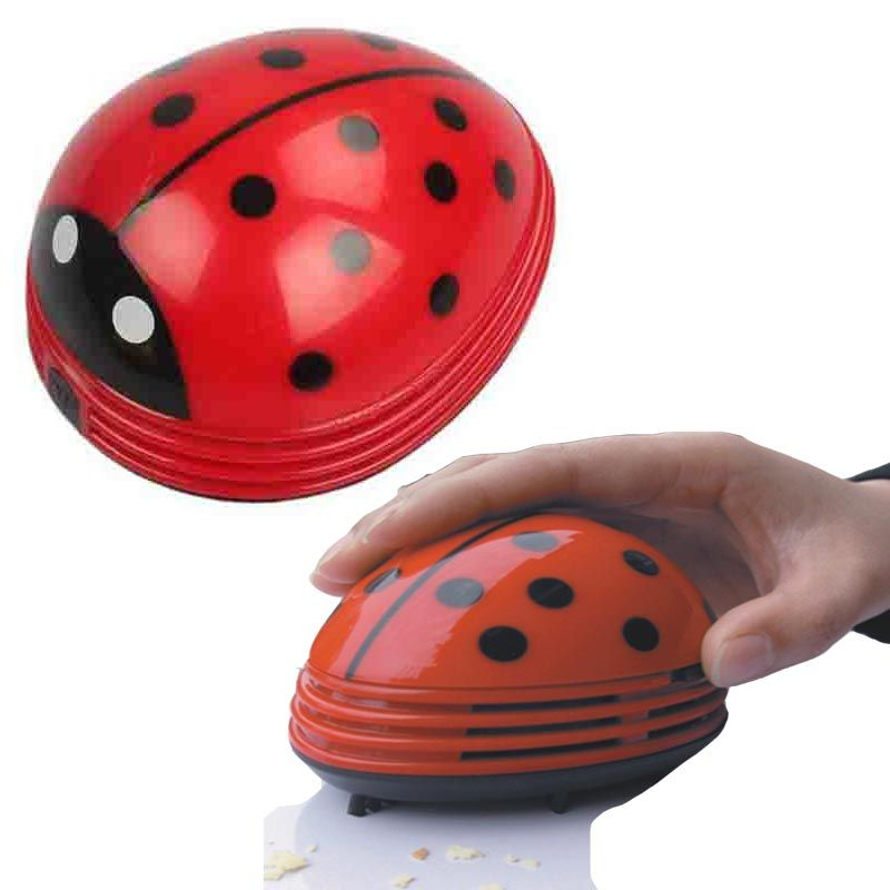 Portable Mini Vacuum Cleaner Cute Beetle Ladybug Cartoon Desktop Desk Dust Collector