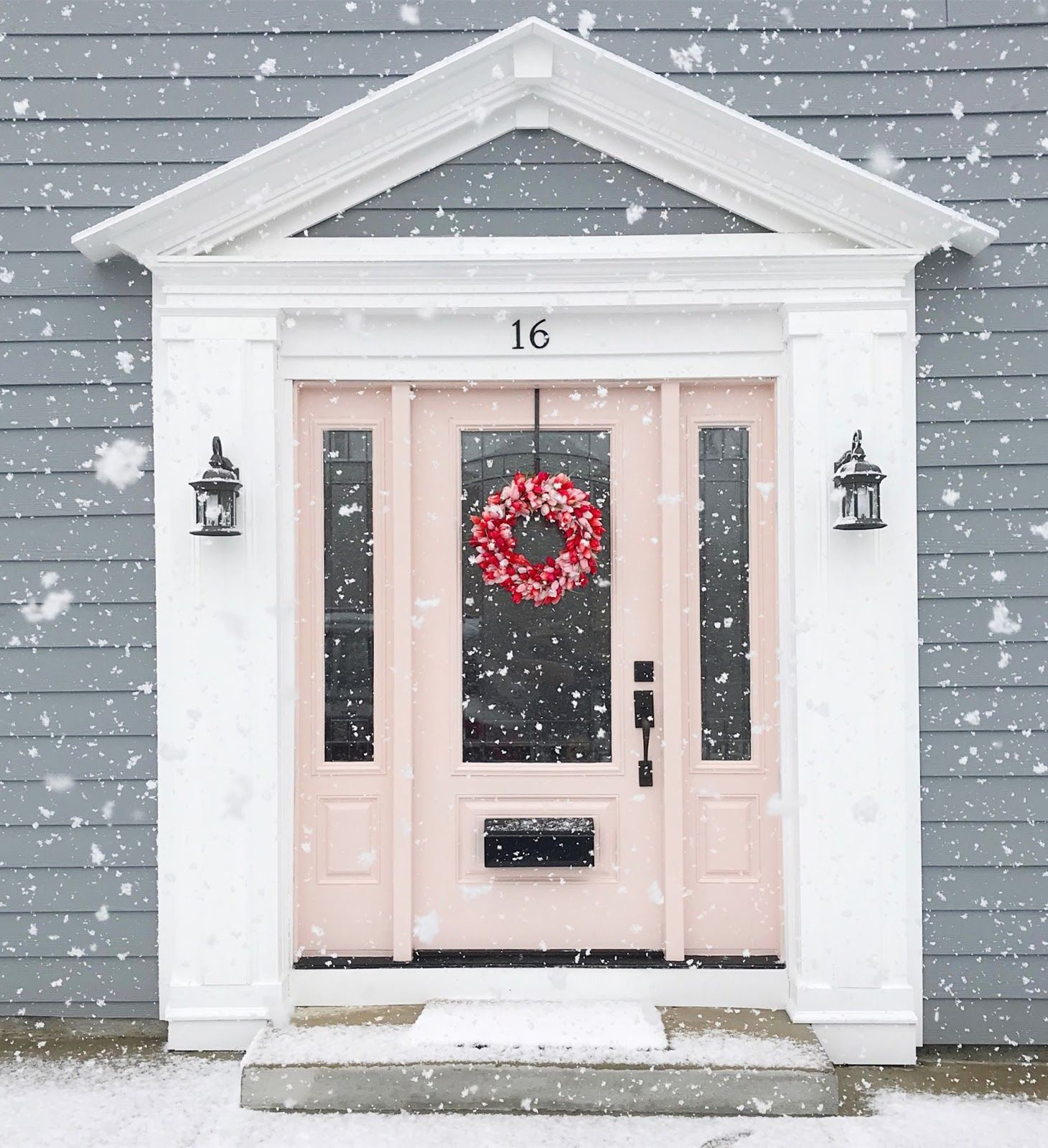 Our Blush Pink Front Door In The Snow Pink House Exterior Pink