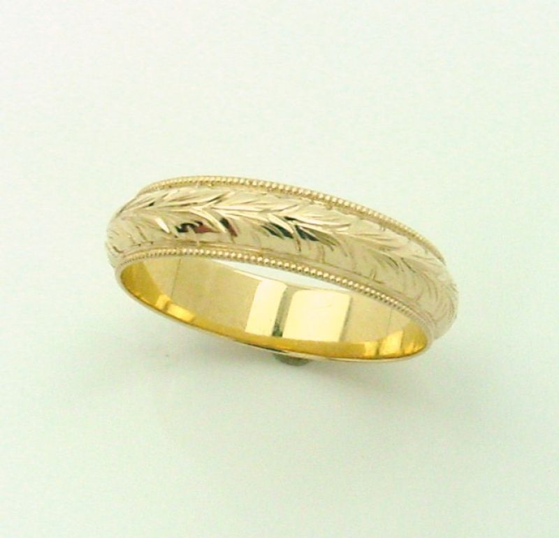 14kt Yellow Gold Milgrain Wedding Band 5mm Wide With Wheat Pattern Engraving Mens Jewelry Milgrain Wedding Bands Jewelry