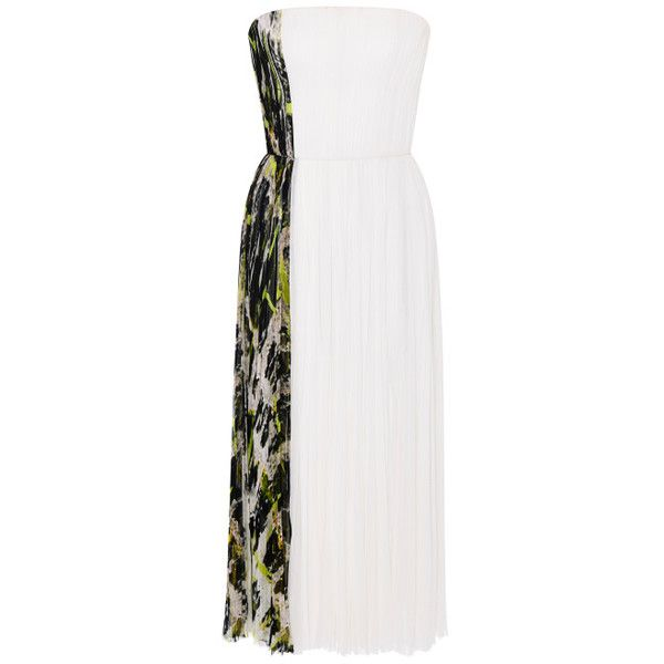 J. Mendel Central Park And Ivoire Silk Chiffon Tea Length Dress (€7.095) ❤ liked on Polyvore featuring dresses, pleated dress, fitted tops, j. mendel, strapless silk chiffon dress and strapless cocktail dresses