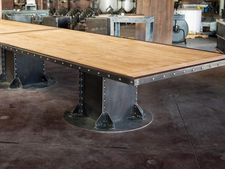 I Beam Conference Table 20 Foot Maple Top With Riveted Edge And Three Bases Top Suppo French Industrial Decor Industrial Style Furniture Industrial Furniture