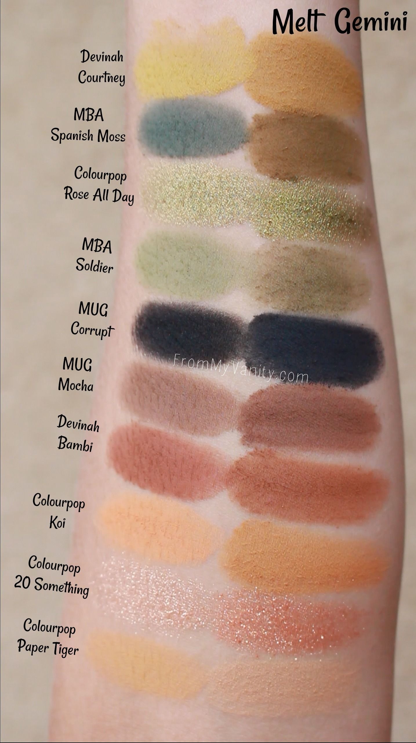 Single Eyeshadow Dupes For The Melt Gemini Palette