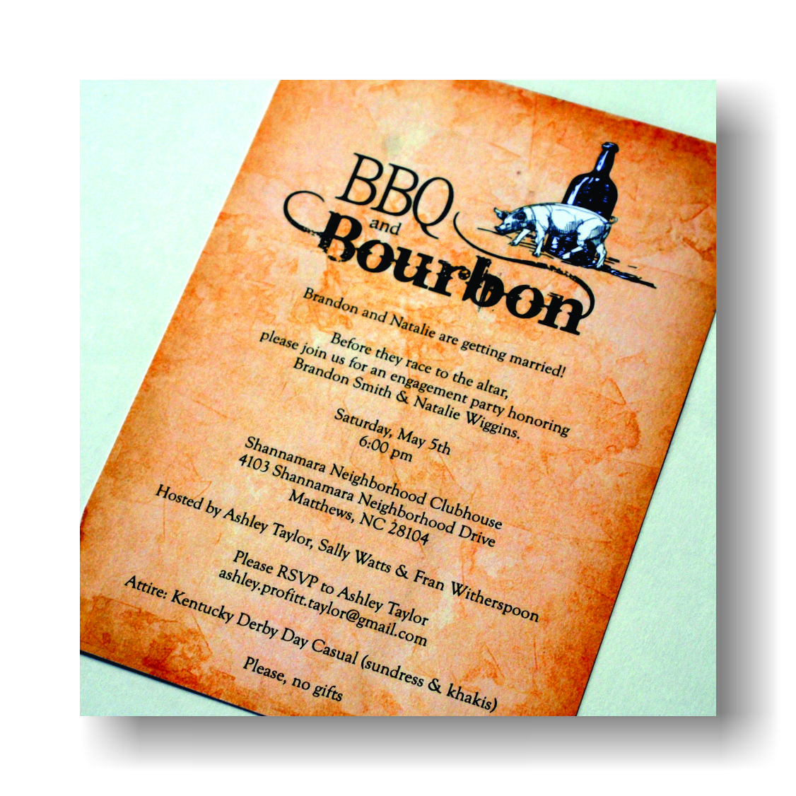 Engagement Cocktail Party Ideas Part - 30: BBQ And Bourbon Engagement Party Invites. Www.wisordesigns.com