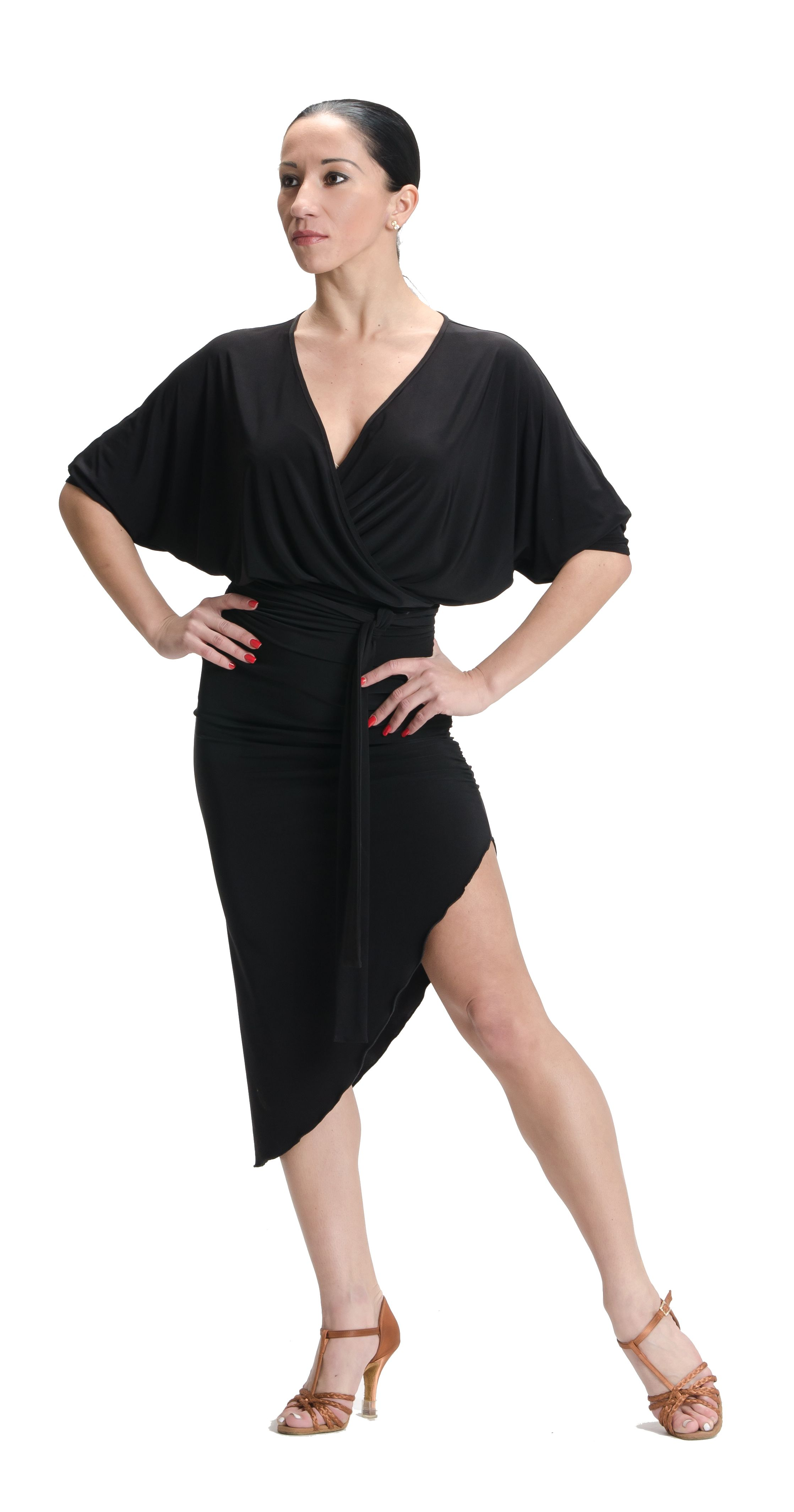 309e45a4d85d Sophisticated and sexy kimono inspired wrap dress. Dolman sleeves are three  quarter length. Side seam gathers allow for flattering draping.