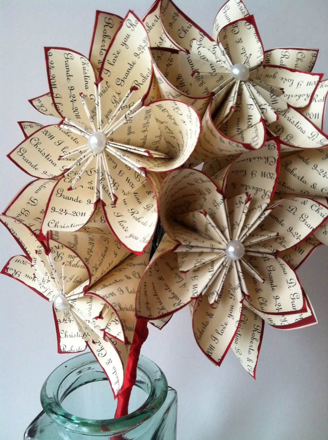 A Dozen I Love You S 12 Paper Flowers Wedding 1st Anniversary Gifts For Her Bouquet Origami Red Rose Made To Order