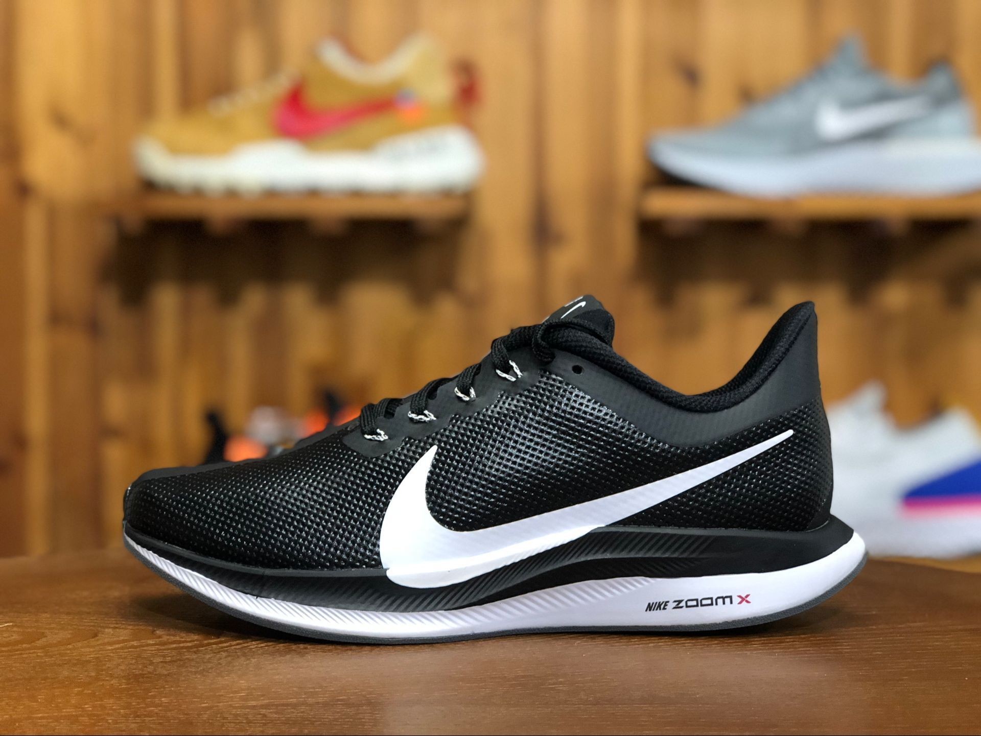 3d8d2ad22bd5b7 Nike Air Zoom Pegasus 35 Turbo Leather Black White Shoe Free Shipping