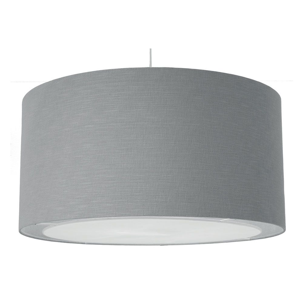 Large Linen Drum Ceiling Shade Grey