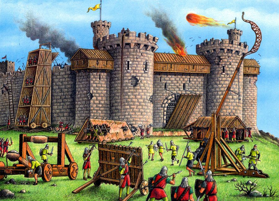 Middle Ages Attacking A Castle Middle Ages