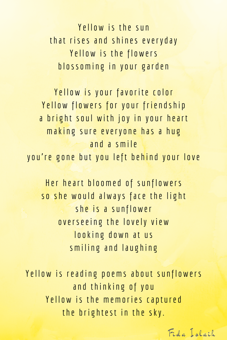 Yellow I A Color Poem By Fida Islaih Published In Her Poetry Book Wilting Mind Colorpoem Fidaislaih Poetf Mindfulnes Books The Sun Rising Theme