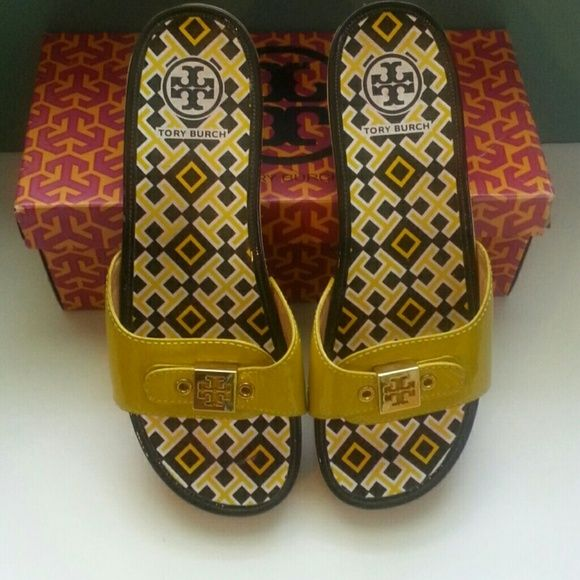 3a1d605235d7 Tory Burch Wooden Clogs Dixon Mustard Yellow 9.5M Authentic Patent Leather  Good Condition Tory Burch Logo Gold toned screws TB box (not original)  included ...