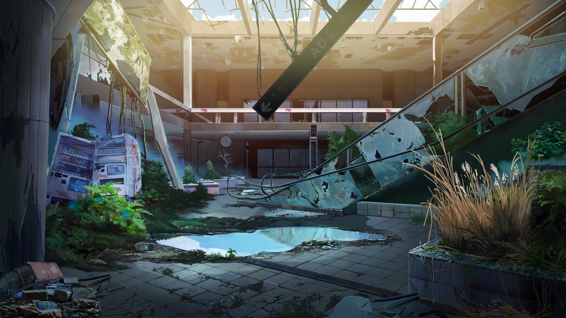 Anime original ruin escalator abandoned scenery building