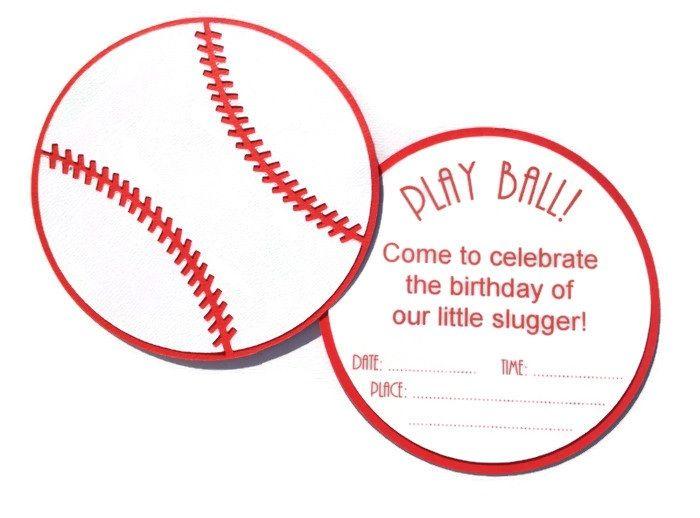 Invitaciones de béisbol. Hechas a mano. | invitaciones, papel, etc ...