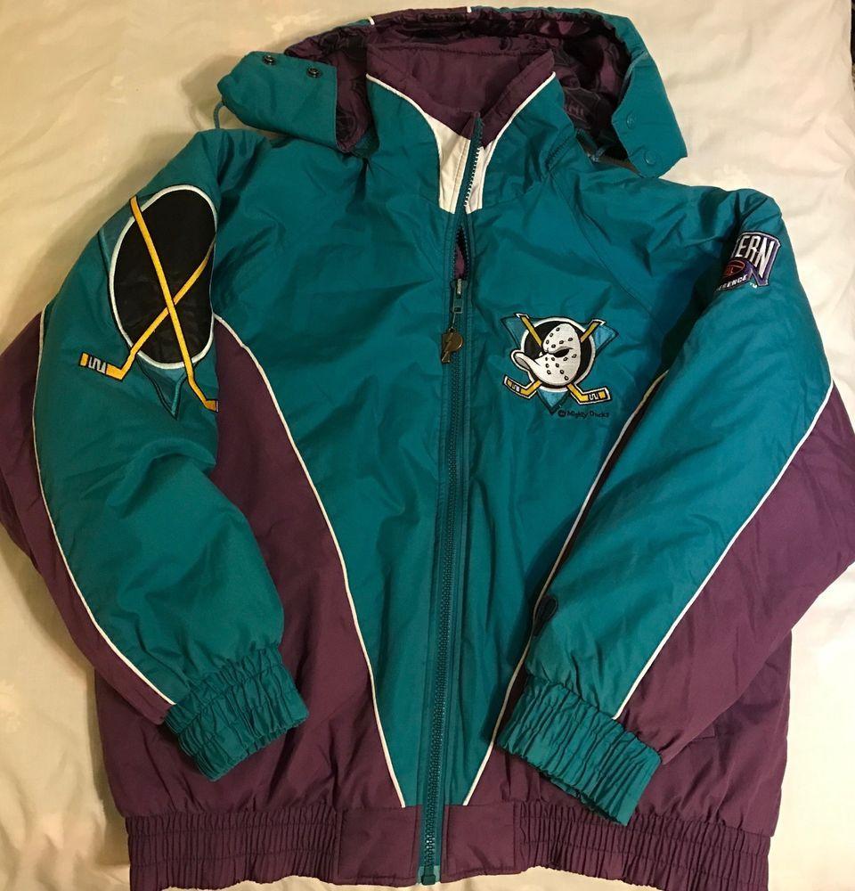 bf5fd516 Details about Vtg Mighty Ducks Jacket Nhl Disney 90s Size Large L en ...