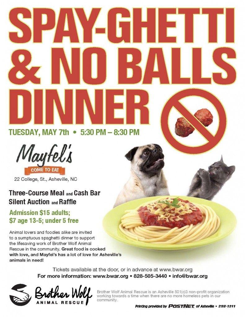 Spayghetti And No Balls Dinner Animal Shelter Fundraiser Dog