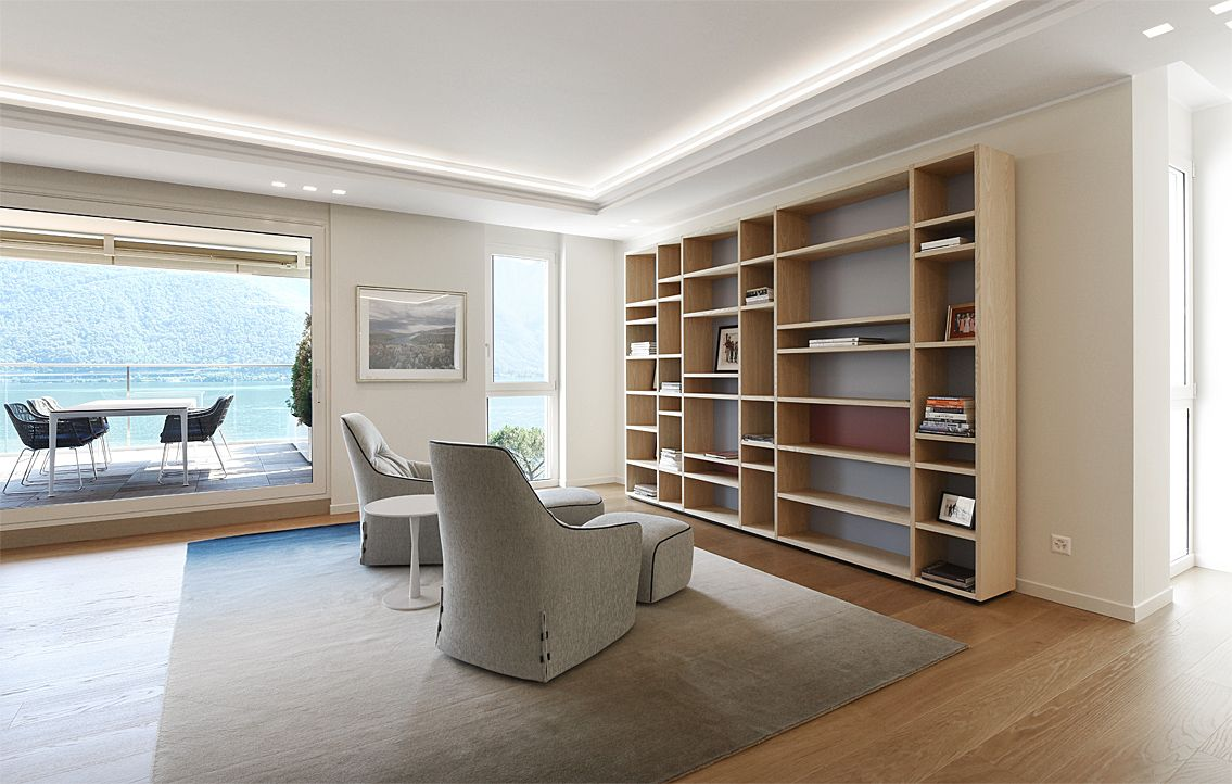 progetto di arredo soggiorno design - divani b&b italia - poltrone ... - Soggiorno Living Progetto 2