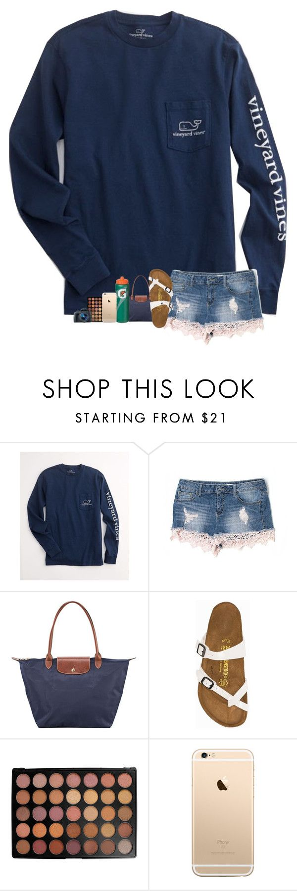 """""""OOTD :-)"""" by sanddollars ❤ liked on Polyvore featuring Vineyard Vines, Altar'd State, Longchamp, Birkenstock, Morphe and Eos"""