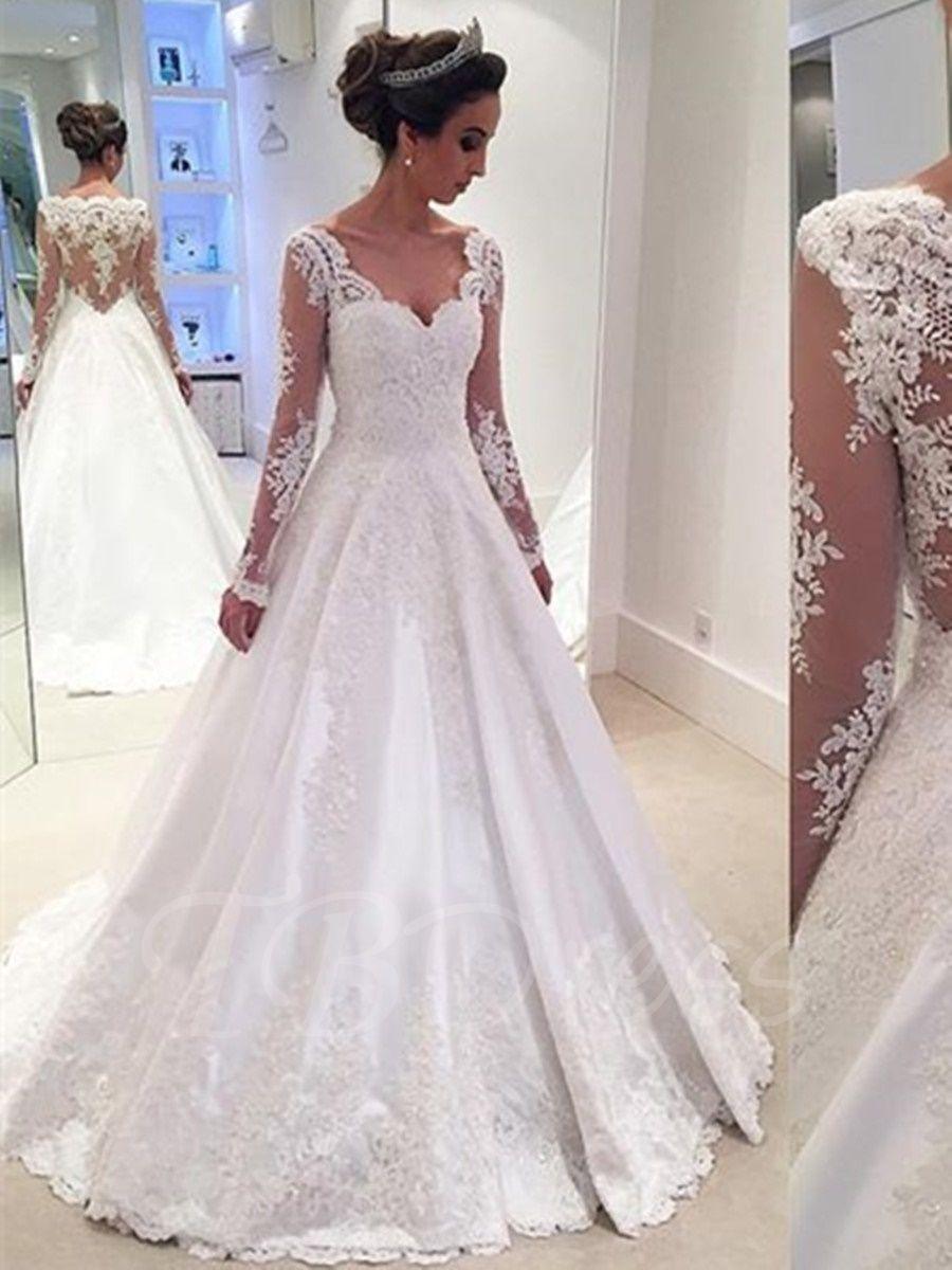 Vneck long sleeves appliques a line wedding dress applique