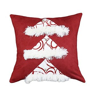 Chooty® Passion Suede Cinnabar Self Backed with Joker Scarlet Santa Hat Decorative Pillow at www.younkers.com