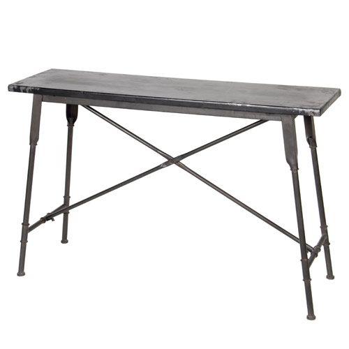 Console En Métal Noir Effet Vieilli Entrepôt Côté Table : Decoclico