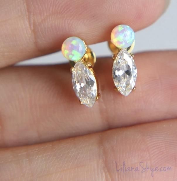 white product fire stud jewelry magick earrings opal