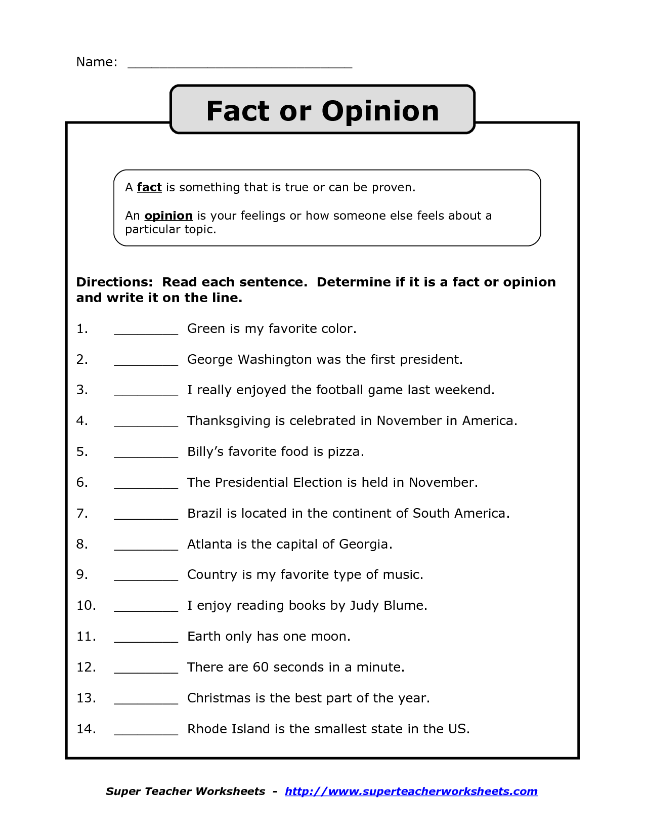 fact vs opinion worksheet Google Search – Fact or Opinion Worksheet