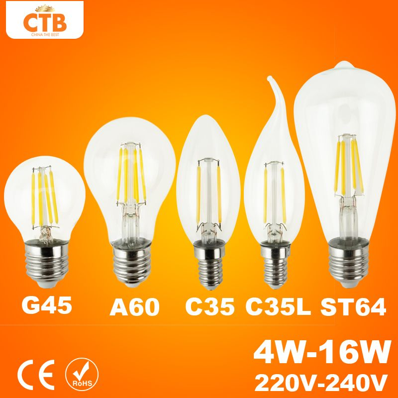 Dobry E27 E14 Antyczne Edison Zarowka 220 V Retro Led Zarnika Swiatla Led Archiwalne Doprowadzily Szklane Zarowki 4 W 8 W 12 Glass Bulbs Edison Bulb Lamp Light