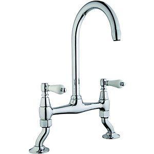 Wickes Zores Bridge Kitchen Sink Mixer Tap Chrome