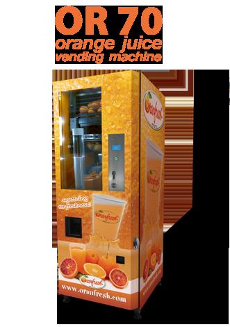 freshly squeezed orange juice vending machine
