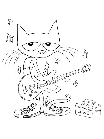 Pete The Cat Rocking In My School Shoes Coloring Page Pete The Cat Shoes Music Coloring Cat Coloring Page