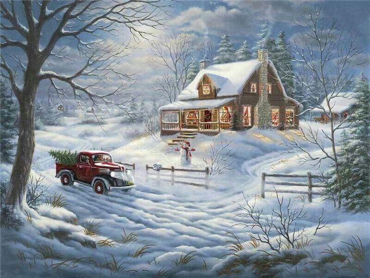 old cabin winter scene wallpaper - photo #10