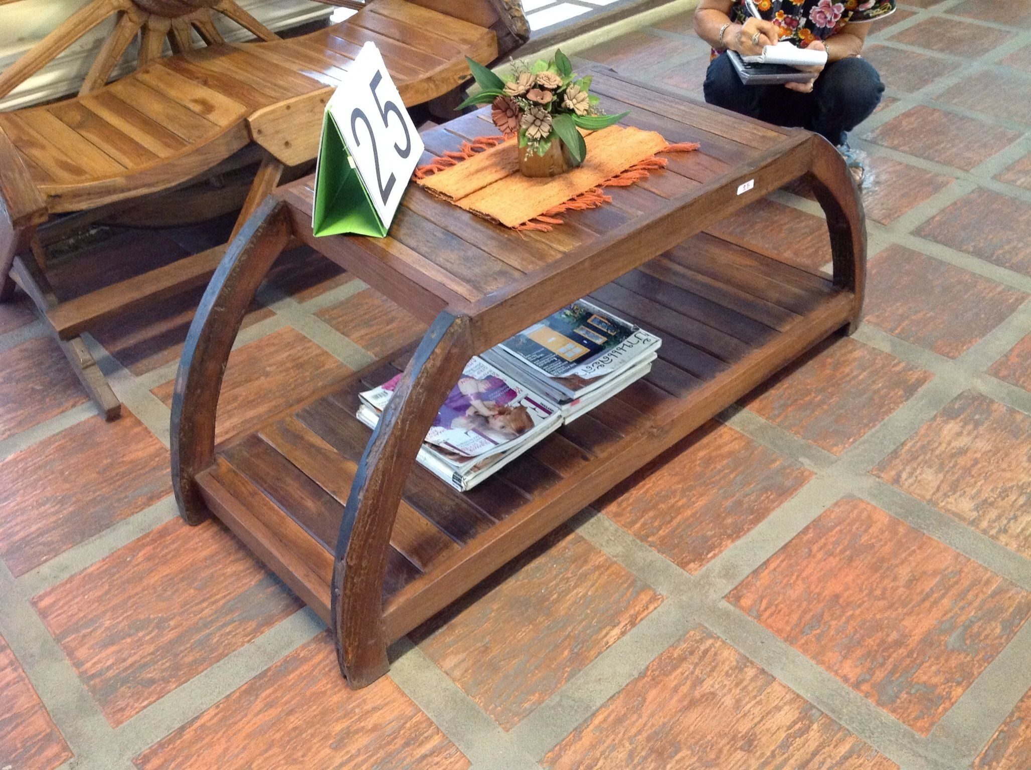Handcrafted reclaimed ox cart teak wood console from Chiang Mai