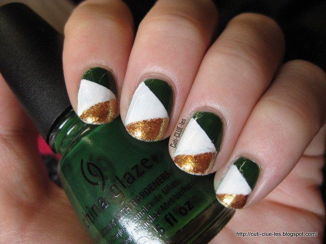 Cuti-CLUE-les Irish Flag nail art | Nails | Pinterest | Flag nails