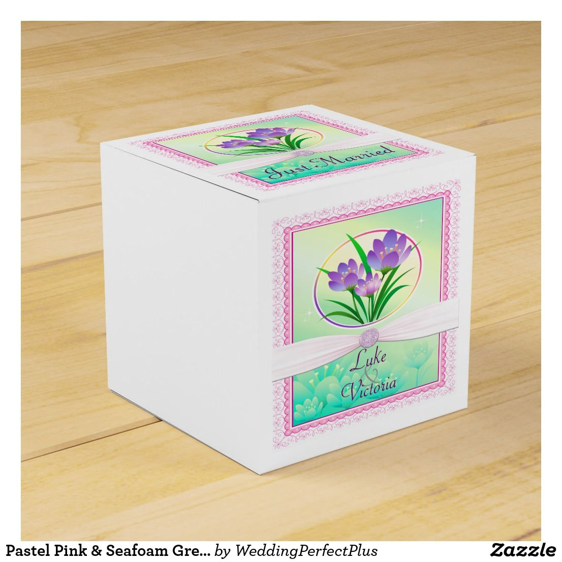 Pastel Pink & Seafoam Green Spring Flowers Wedding Favor Box ...