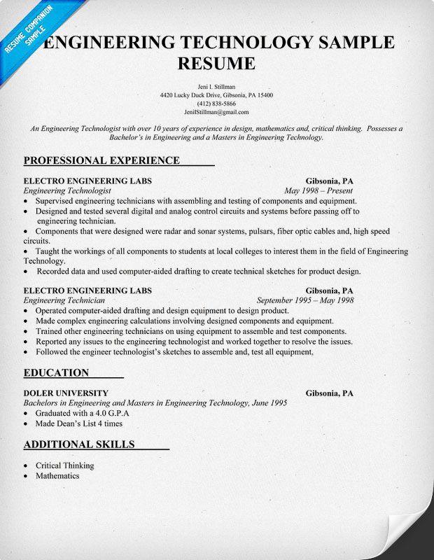 Resume Example Engineering Technology Http Resumecompanion Com
