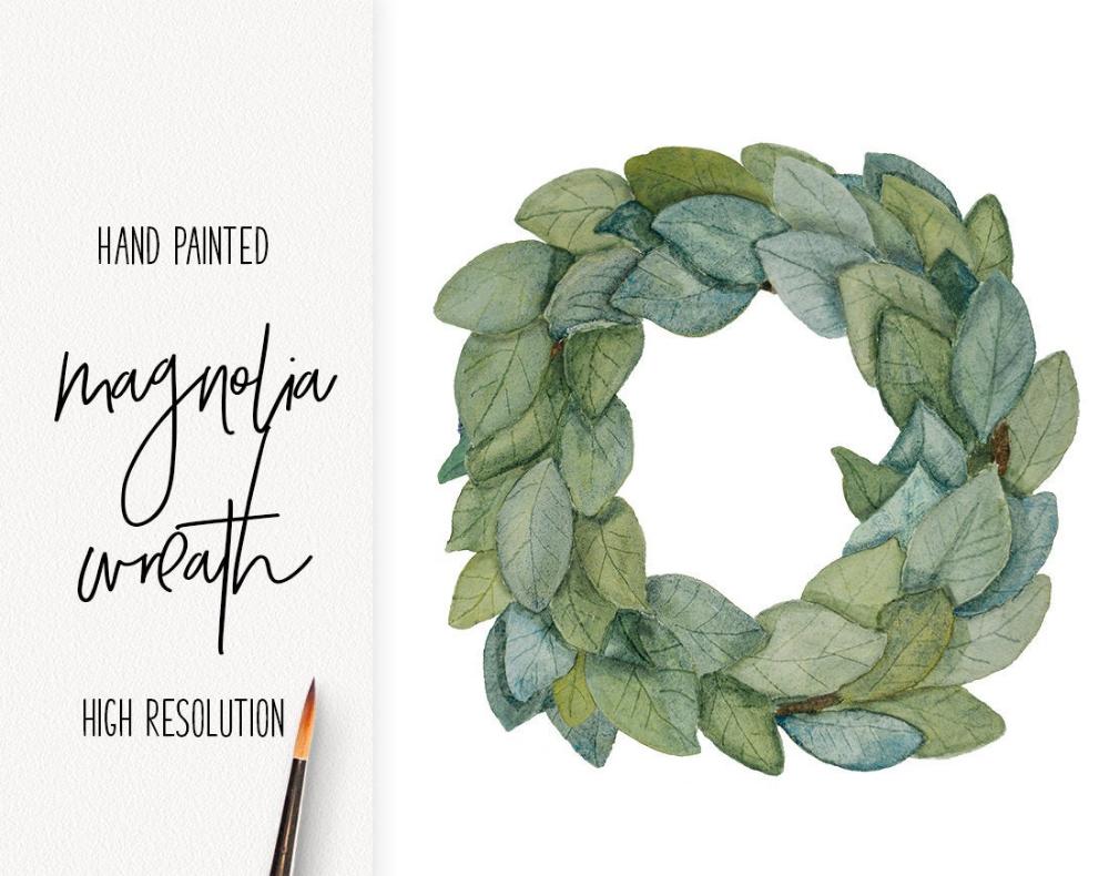 Photo of Digital watercolor /// magnolia wreath clip art of a farmhouse illustration