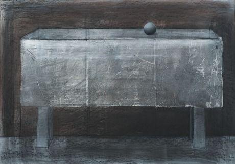 Reino Hietanen: Pöytä, 1988, akryyli, liitu ja kollaasi paperille, 70x100 cm - Bukowskis