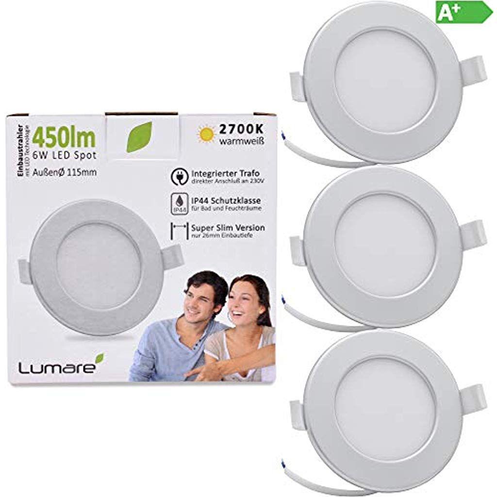 Lumare Led Einbaustrahler 6w 230v Ip44 Ultra Flach 3er Set