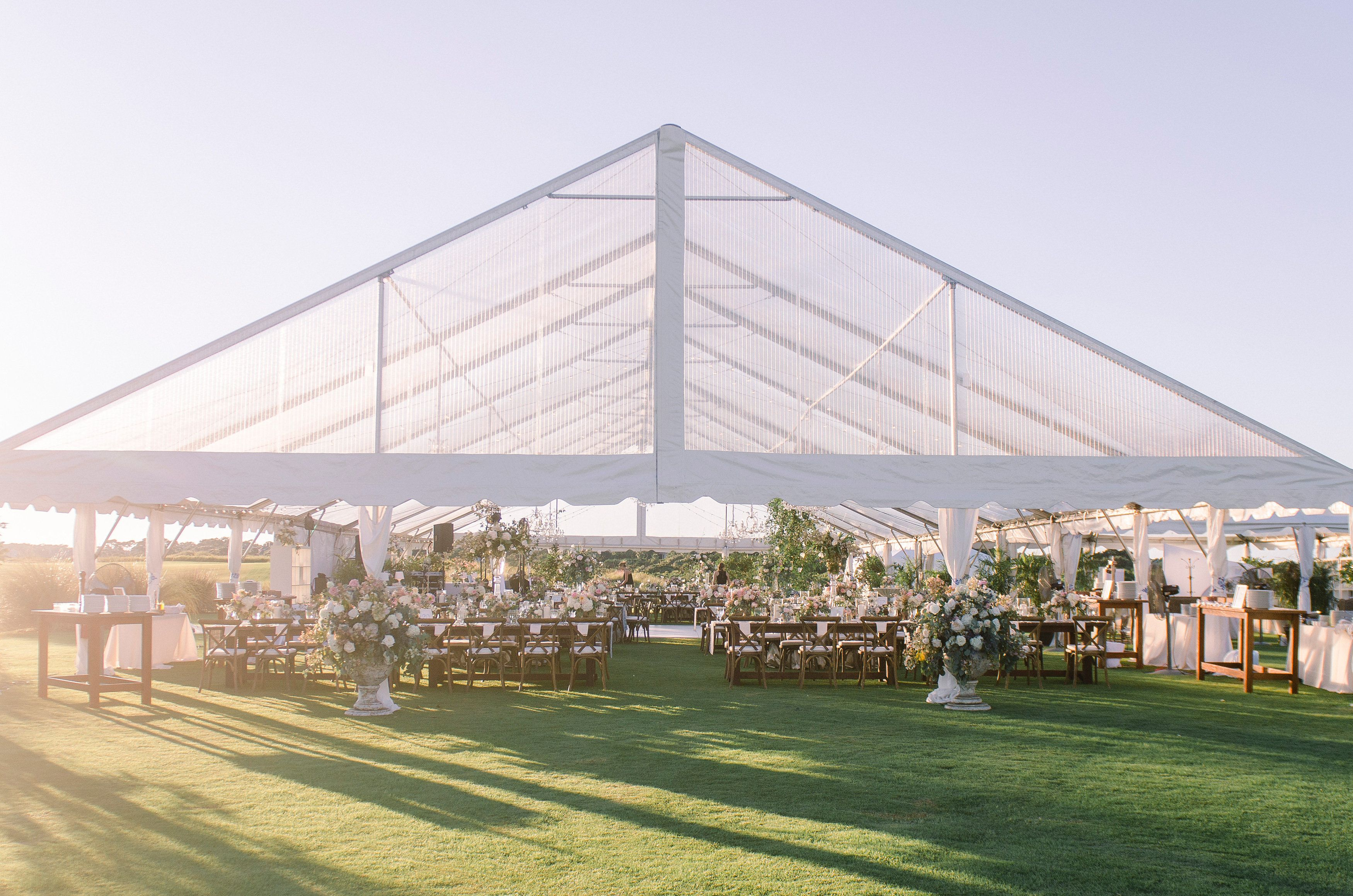 Clear top tent wedding reception at the ocean course on kiawah
