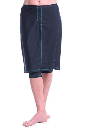 3f1143e715 HydroChic Womens Splash Down Denim Swim n' Sport Skirt L in Charcoal  Grey/Aqua